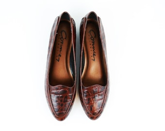 Vintage Chocolate Brown Leather Flats size 9