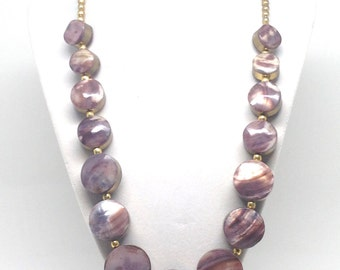 Stunning Purple Dyed Mother Of Pearl Ethnic Linked Vintage Estate Necklace