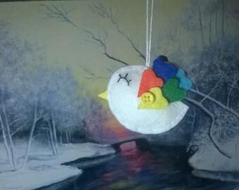 Bird of happiness and love - birds home decore - bird ornaments - heart - souvenir - handmade