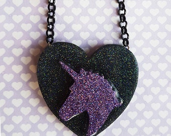 Purple Unicorn Necklace ~ galaxy glitter cameo heart pendant