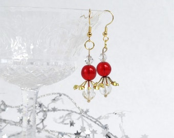 christmas earrings, red and crystal earrings, christmas jewelry, gift for her, holiday earrings, xmas stocking stuffer for women