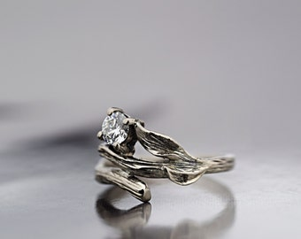18 ct White Gold Twig Engagement Ring - Leaf Engagement Ring - Twig Diamond Engagement Ring - Hand made to Order