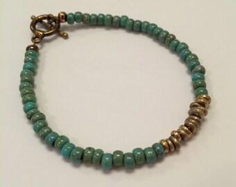 Turquoise & Brass Stacking Bracelet