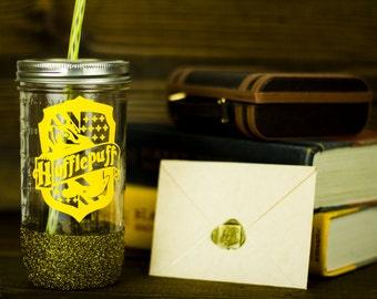 Hufflepuff Glass Tumbler// Hogwarts House Tumbler // Harry Potter Gift Set
