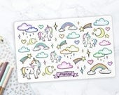 Unicorns & Rainbow Stickers | Hand Drawn Stickers for Planner, Bullet Journal, Journal, Scrapbook | Illustrated | Pastel | Stationery