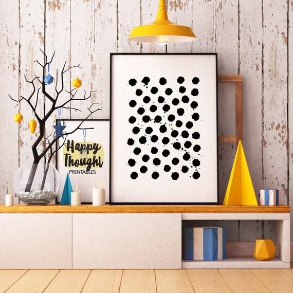 Printable Art, Black Polka Dots, Pattern, Modern Art, Minimalist Art, Art Printable, Home Decor, Digital Download Print