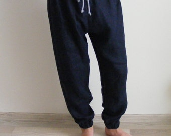 Mens linen pants with side pockets in Dark Blue /Jogger pants / Comfortable Men trousers / Casual straight pants / pantalon homme