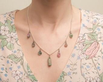 Necklace watermelon tourmaline. Polychromatic tourmaline necklace. Tourmaline Necklace.