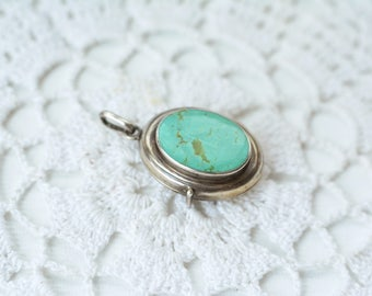 Turquoise Sterling silver locket pendant, green, photo locket