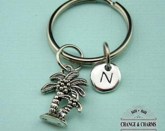 Palm Tree Keychain, Palm Tree, Tropical Keychain, Tree Keychain, Beach Themed, Personalized Keychain, Charm Keychain, Initial Charm, CPL008