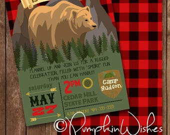 Boy Camping Birthday Invitation/Campout Invite/Outdoor Lumberjack Birthday Party/Camp/Sleepover/Red Flannel Party