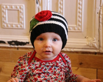 Holiday Flower Baby Hat Striped Flower Hat Baby Christmas Outfit Valentine Baby Hat Unique Baby Girl Gift Photo Prop Hat Winter Infant Hat