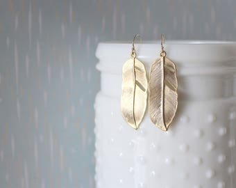 SAMANTHA - Matte Gold Feather, Gold Filled Earwire, Dangle Earrings