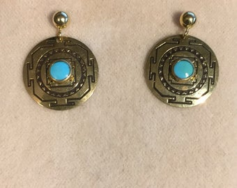 Eye of the West South Western 14 Karat Gold earrings with 4mm Ball post with 2  5mm Turquoise Cabochons