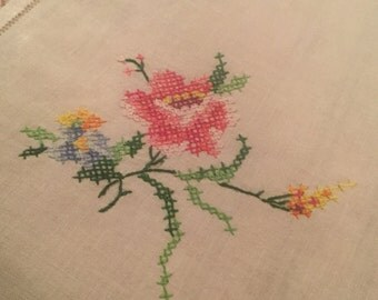 Cross Stitched Tablecloth - Vintage 1960s