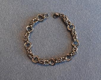 Stainless Steel Byzantine Rose Bracelet