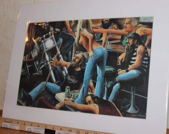 "David Mann ""Party Crash"" 16"" x 20"" Matted Motorcycle Biker Art #7801ezrxm"