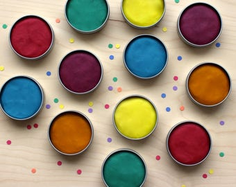 PARTY FAVORS Play dough party favors for kids birthday party! 12 tins of all NATURAL rainbow birthday party favors, with pre-order option!