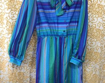 70s Minimal Stripe Multi Color Sears The Fashion Place Dress Neck Tie Skirt