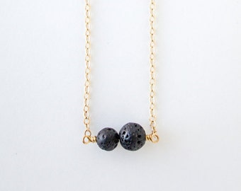 Lava Double Bead Necklace · Essential Oil Diffuser · Minimal · Aromatherapy