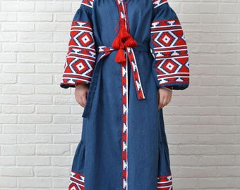 Etnic embroidered dress, vyshyvanka dress, linen maxi dress