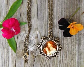 Dante Gabriel Rossetti Painting Necklace, Aurelia Painting Glass Dome Pendant Necklace
