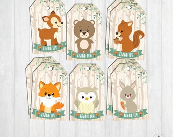WOODLAND BABY SHOWER Favor Tags. First Birthday Party Decor. Thank You Tags. Woodland Animals. Forest Animals. Baby Boy Girl Gift Tags WOOD1