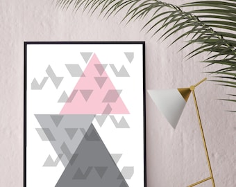 Geometric Print // Wall Art  // Unframed Print // Grey & Pink Wall Art