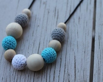 Crochet and Wooden Bead Necklace ~ Grey, Blue, White ~ Nursing Necklace