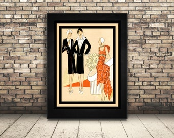 High Resolution Poster Digital Download Vintage Haute Couture Sewing Pattern Art. Wall Art or Home Decor of Art Deco, Vogue, Fashion Girl.