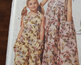 McCalls 6595 Girl's Dress And Jumpsuit Sewing Pattern