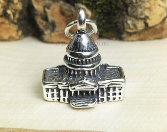 3D Sterling Silver Capitol Building Bracelet Charm, Government, Politician, Military, Jewelry, .925 Silver, DIY, Charms, (C255)