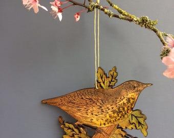 Thrush & Oak leaf hanging decoration
