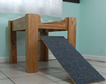 oak wood raised dog bed elevated dog bed furniture with ramp or step dog