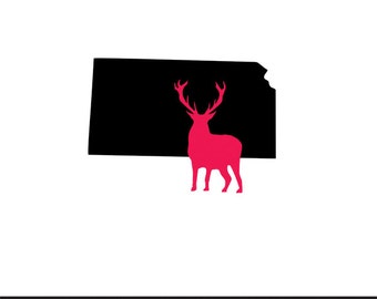 kansas deer svg dxf jpeg png file stencil monogram frame silhouette cameo cricut clip art commercial use