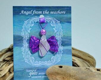 Genuine Seaglass Angel Ornament, Sea Glass, Seaglass Angel, Angel Ornament, Seaglass Ornament, Beach Decor, Ocean angel