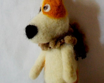 Dog , Jack Russell doggy Art Dolls , Interior doll , felted dog , felt doll , felted animal, READY TO SHIP