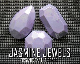 Jasmine Jewels   Pure Vegan Jasmine-Scented Castile Gemstone Body Soap Bars with Jojoba Oil