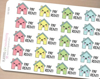 Kawaii Pay Rent Reminder Planner Stickers Perfect for Erin Condren, Kikki K, Filofax and all other Planners