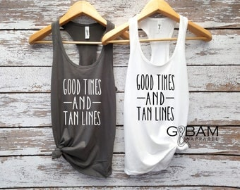 Tan lines etsy good times and tan lines tank top bachelorette party tank river tank boating fandeluxe Ebook collections