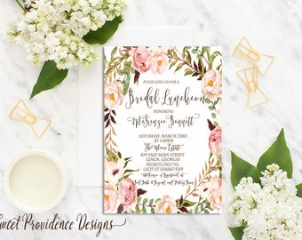 Bridal Luncheon Invitation /Printable Bridal Luncheon Invite/ Romantic Floral Bridal Shower Invitation /Watercolor Floral Wedding Invitation