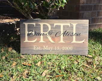 Personalized Family Name sign / Custom Rustic Wood Sign / Anniversary Gift /  Last Name Sign /  Wedding Gift /  Bridal Shower Gift