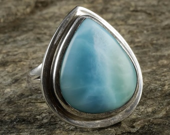 Size 7 LARIMAR Ring - Sterling Silver Ring, Larimar Stone, Handmade Jewelry, Natural Stone Cabochon, Larimar Cabochon, Larimar Jewelry J1043