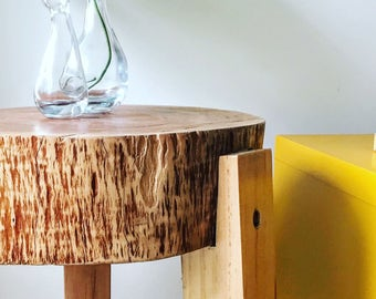 Solid Tree trunk side table!