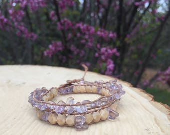 Amethyst and Wood Wrap Bracelet