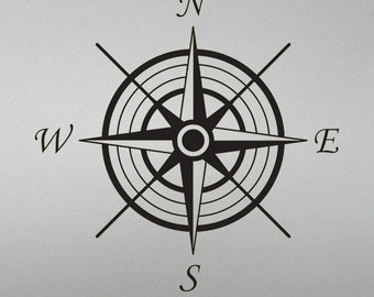 Directional North, South, East, West, Compass Rose Decal - room decor, wall art, vinyl decal, removable sticker, bedroom, home decor-050