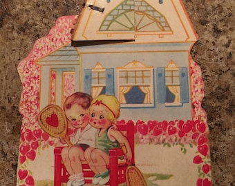 Vintage Valentine Card from the 1930's Colorful Graphics with fancy fold out and Cute Verse