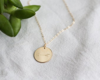 Gold Disc Initial Necklace - Circle Necklace Gold - Mississippi State Necklace - Hand stamped Necklace - Initial Necklace - Gift for Her