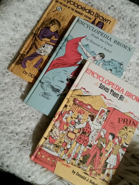 Lot of 3 Vintage 1960's Encyclopedia Brown Hardcover Kids Books: Solves Them All / Finds the Clues / Case of the Midnight Visitor | by Sobol