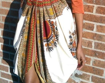 Custom Made Dashiki Cowl Skirt